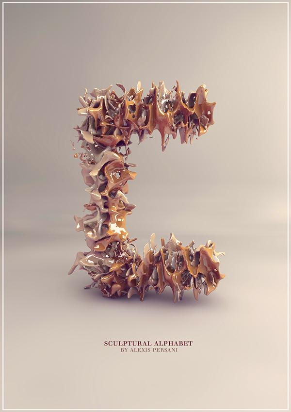 3d Sculpture Alphabet typography 1 3D Sculpture Alphabet Typography