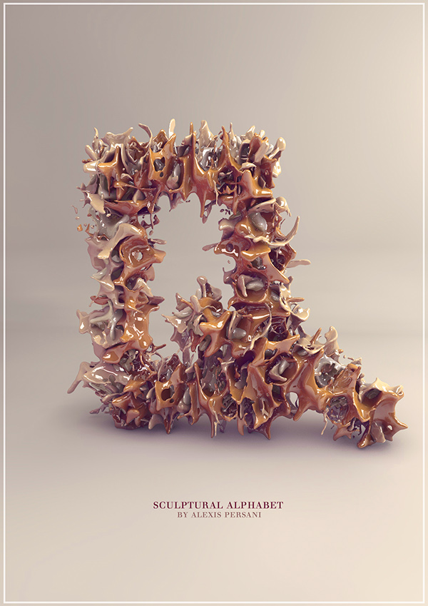 3d Sculpture Alphabet typography 15 3D Sculpture Alphabet Typography