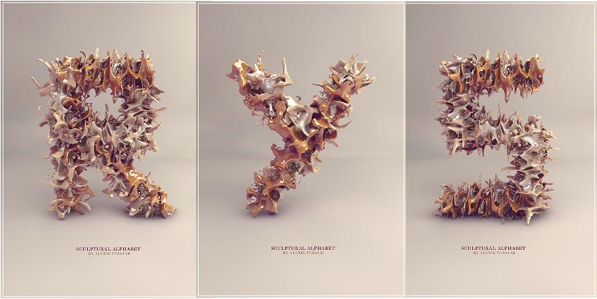 amazing Sculpture Alphabet typography