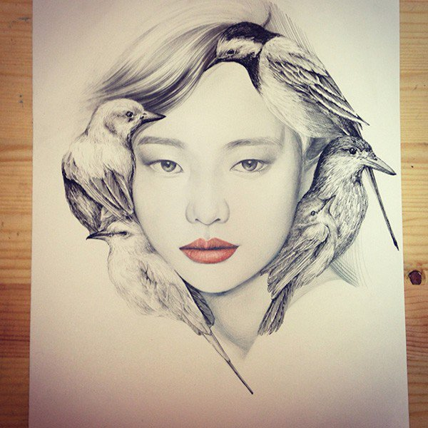 Sweet Art Pencil Drawing by OkArt