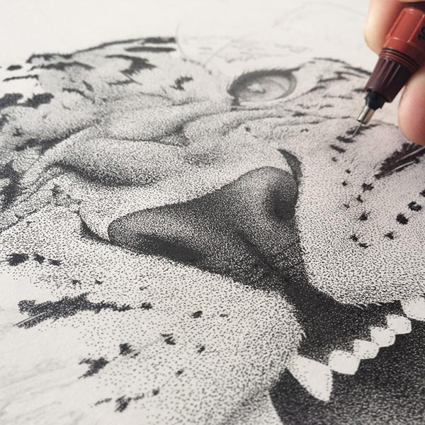Incredible Stippling Art Illustrations Incredible stippling Art Typography & Illustrations by Xavier Casalta