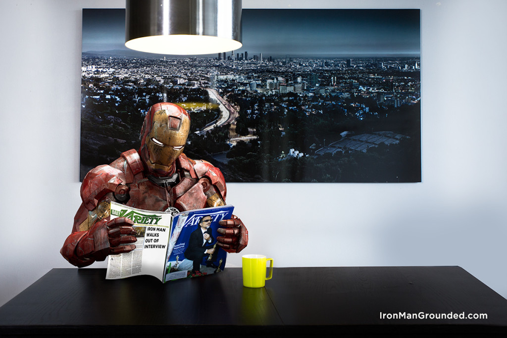 Iron man Reading the Newspaper 1024x683 Iron Man Grounded Humanizes   What Happened With Him