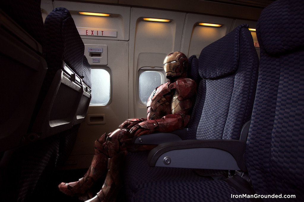 Iron man in airplane 1024x683 Iron Man Grounded Humanizes   What Happened With Him
