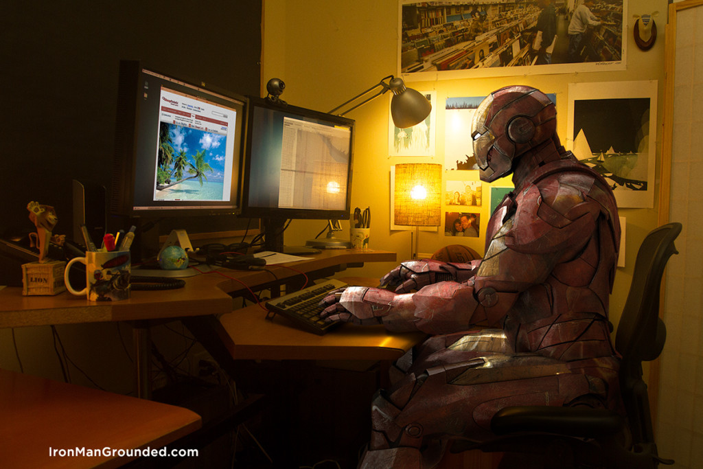 Iron man work watch something interest in internet 1024x683 Iron Man Grounded Humanizes   What Happened With Him