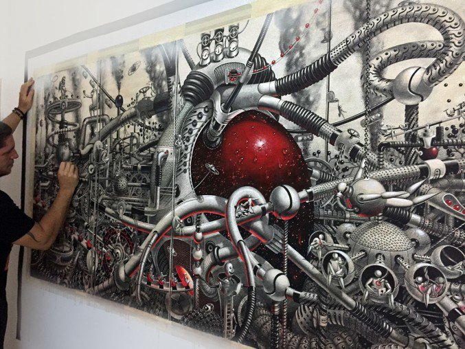 Detailed intricately Large-Scale Drawings Murals By Samuel Gomez