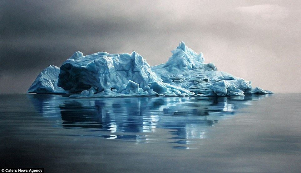 Detailed Realistic Finger Paintings of icebergs Realistic Finger paintings of Icebergs by Zaria Forman