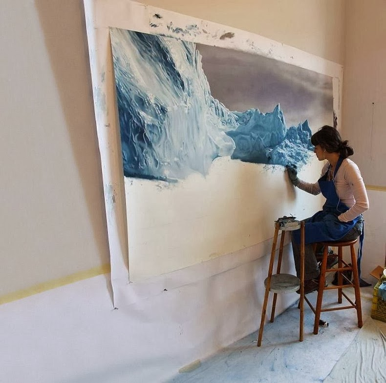 Incredible Realistic Finger Paintings by zaria forman Realistic Finger paintings of Icebergs by Zaria Forman