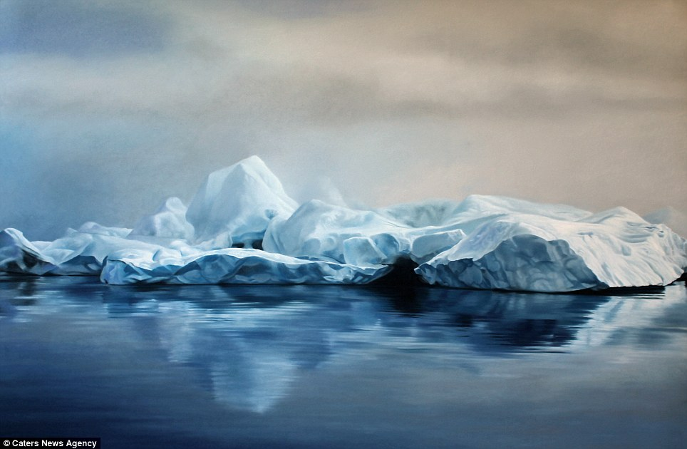 Realistic Finger Paintings of icebergs