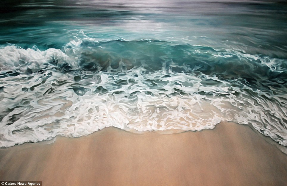 Realistic Finger Paintings of wave 2 Realistic Finger paintings of Icebergs by Zaria Forman