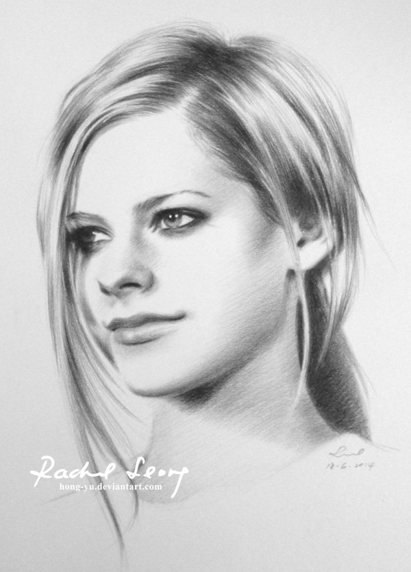 avril_lavigne Detailed realistic pencil drawings- Leong Hong Yu 01