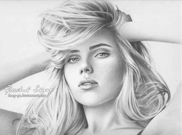 scarlett johansson pencil drawings- Leong Hong Yu 01