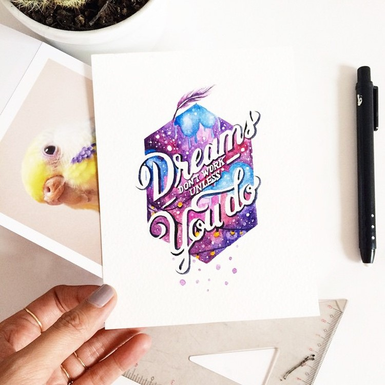 Creative hand Lettering Quotes by june Digan Creative Watercolor Lettering Quotes by June Digan