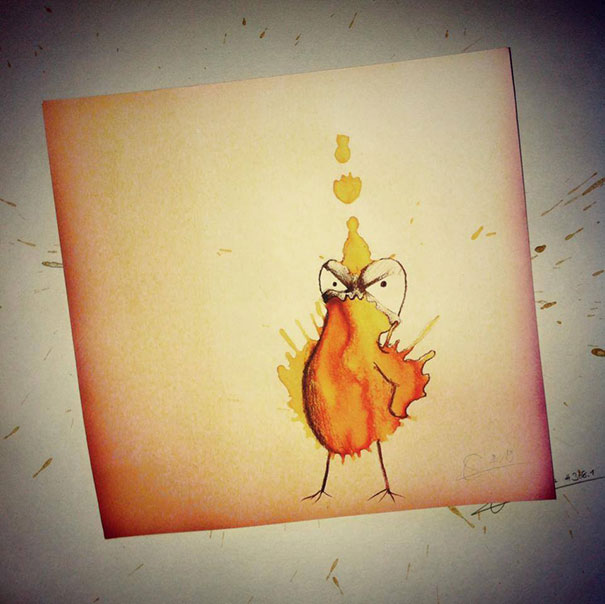 Funny Monster drawing made from Coffee Stains Random Monster Coffee Stains Drawings