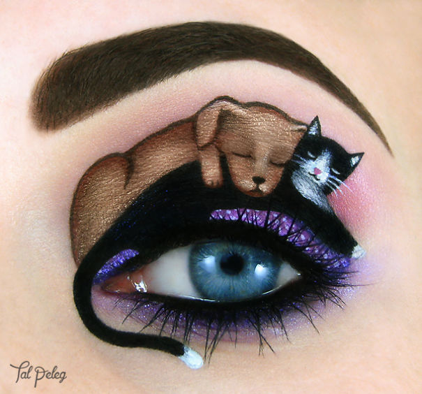 Cat and Dog Eye Canvas Makeup by Tal Paleg Creative Art With Use Eyes As A Canvas by Tal Peleg