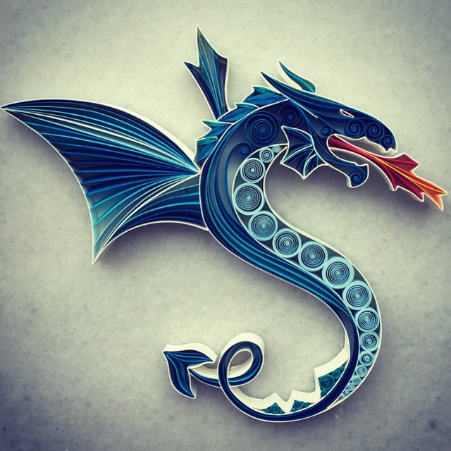 Dragon paper art design Beauty Paper Quill Art Designs by Sena Runa