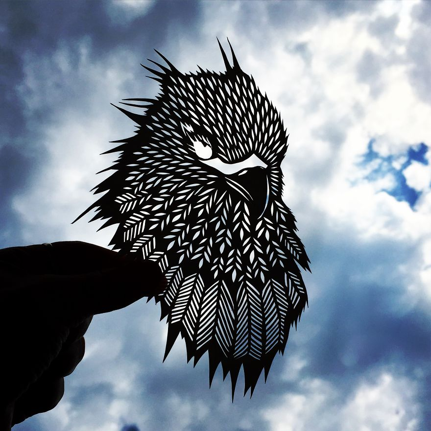 Bird paper cut art by Jo Chorny Gorgeous Paper Cut Outs And Contrasts Them With The Sky Background