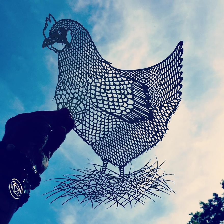 Chicken paper cut art by Jo Chorny Gorgeous Paper Cut Outs And Contrasts Them With The Sky Background