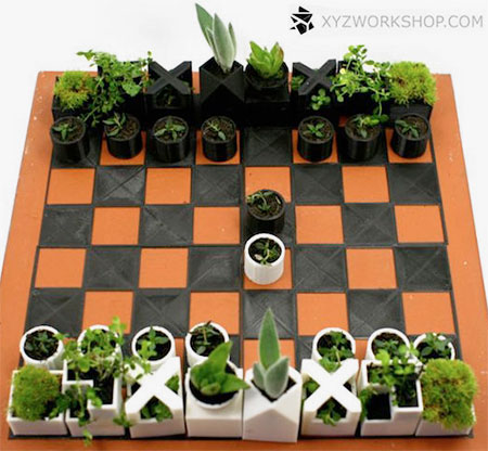 Creative design of chess set Creative Design : Planter Chess Set