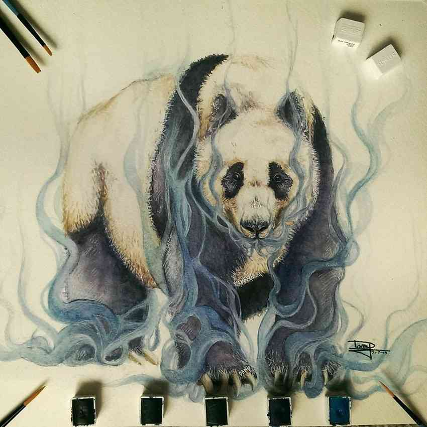 Cute Panda Watercolor Drawings by Dany Lizeth Mind Blowing Watercolor Drawings by Dany Lizeth