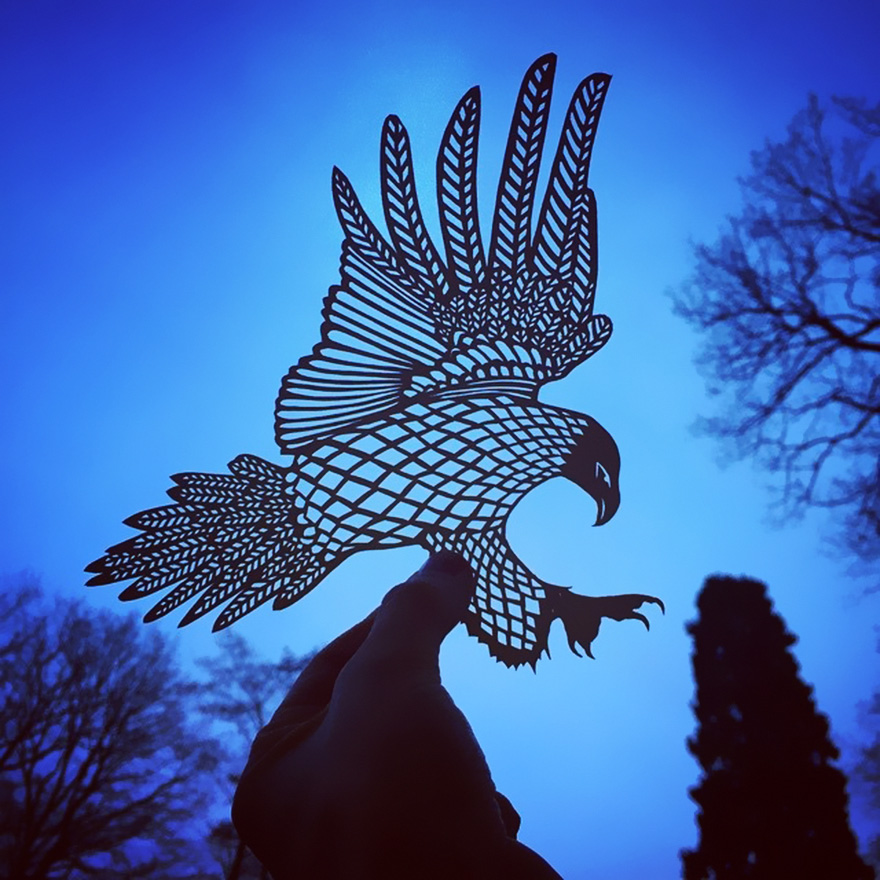 Eagle paper cut art by Jo Chorny Gorgeous Paper Cut Outs And Contrasts Them With The Sky Background