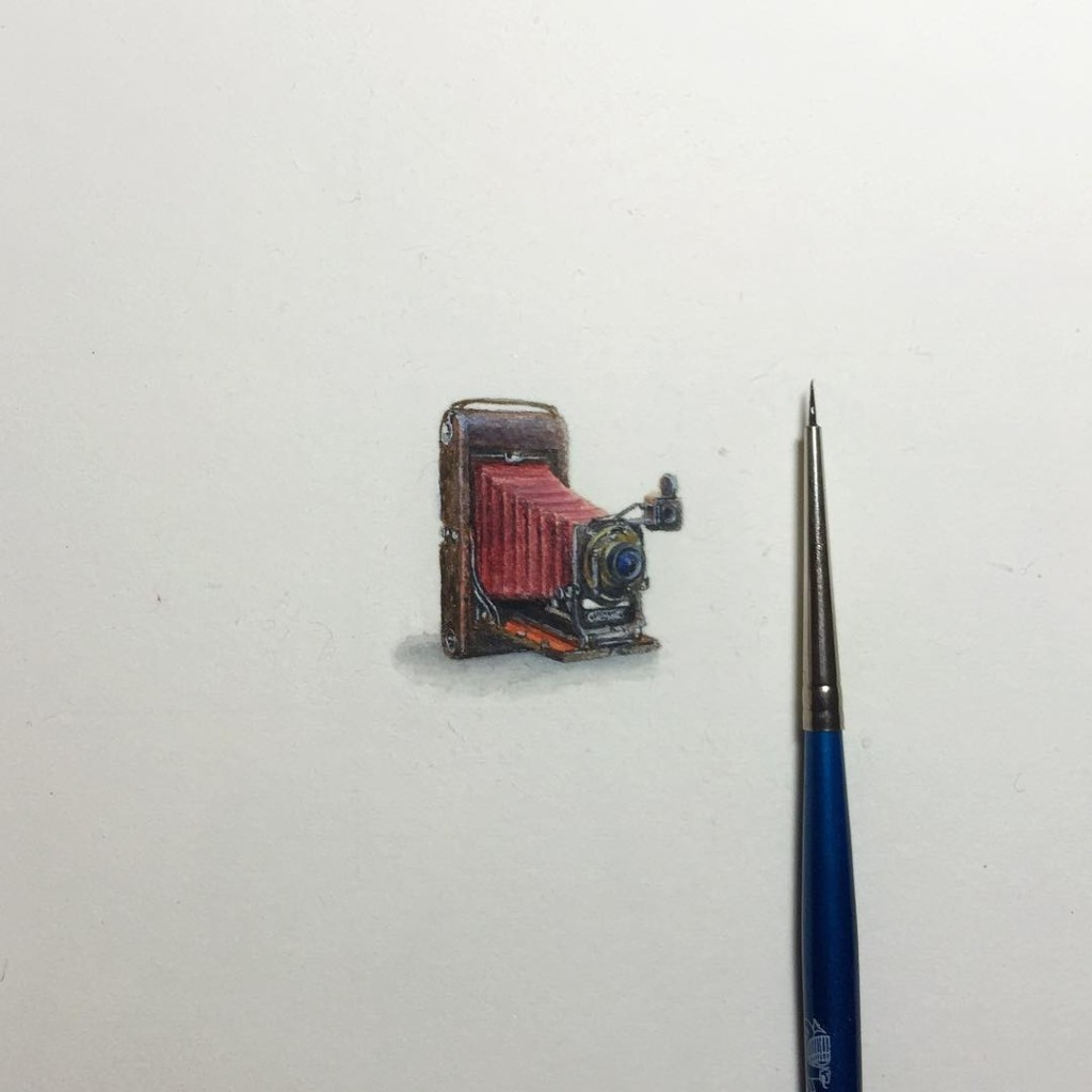 Incredible tiny paintings camera by karen libecap 1024x1024 Incredible Tiny Paintings By Karen Libecap