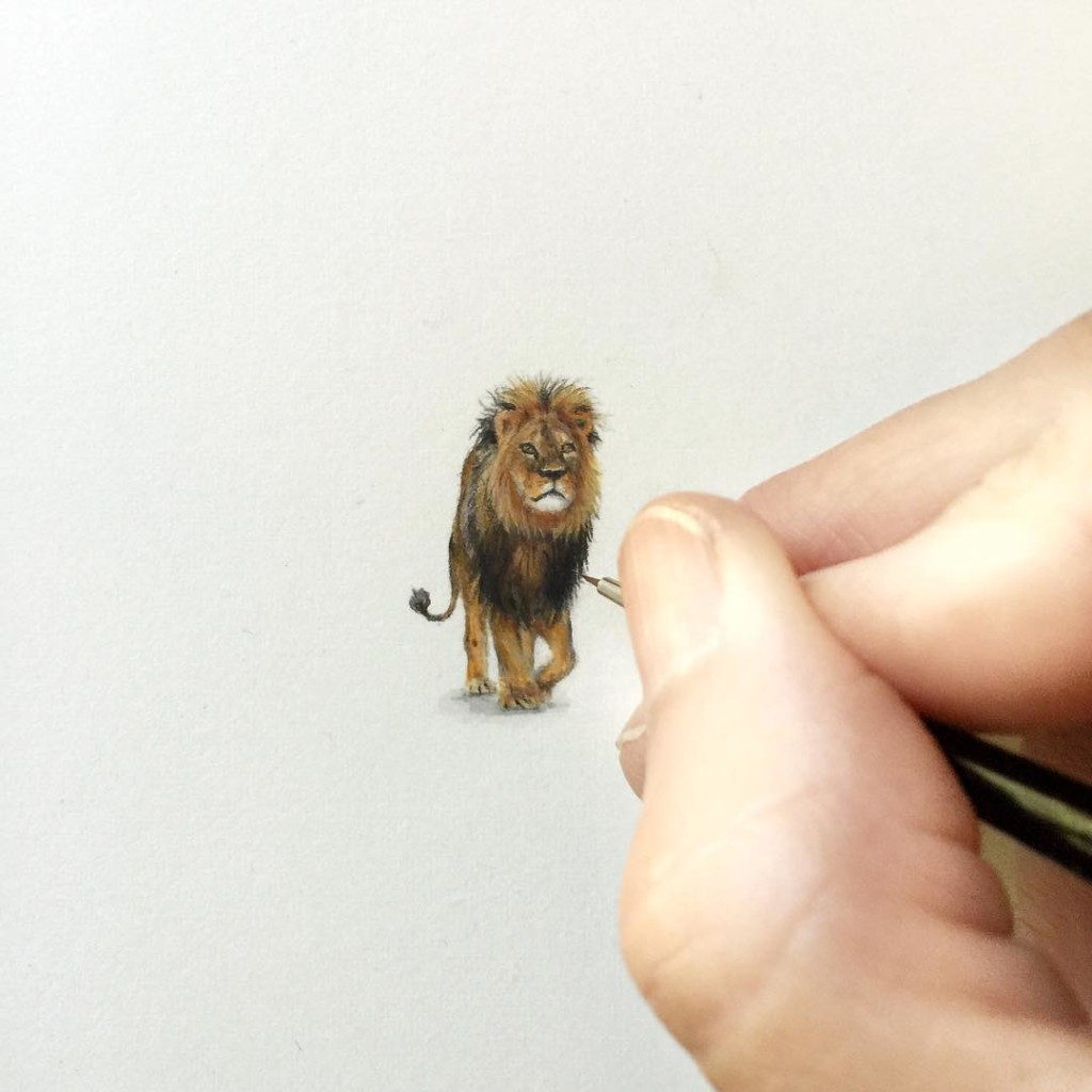Incredible tiny paintings lion by karen libecap 1024x1024 Incredible Tiny Paintings By Karen Libecap
