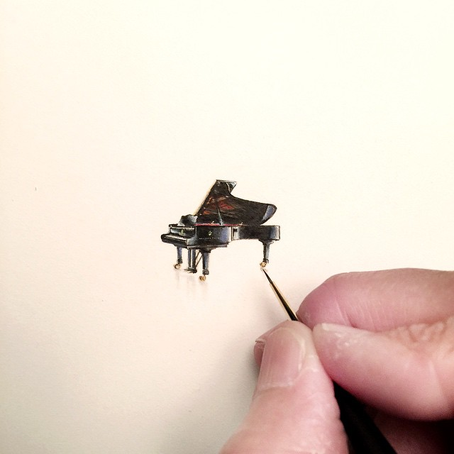 Incredible tiny paintings piano by karen libecap Incredible Tiny Paintings By Karen Libecap