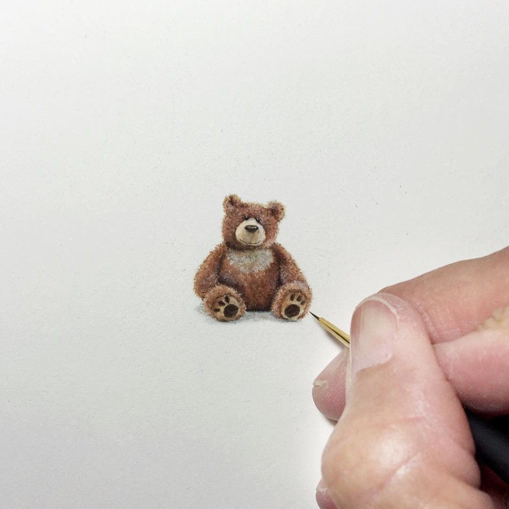 Incredible tiny paintings tedy bear by karen libecap 1024x1024 Incredible Tiny Paintings By Karen Libecap