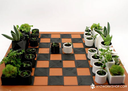 Micro Planter chess set 02 Creative Design : Planter Chess Set