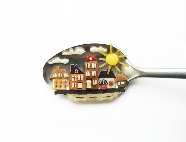 Miniature Masterpieces by Ioana Vanc 04 Miniature Masterpieces Created Using Food And Spoons