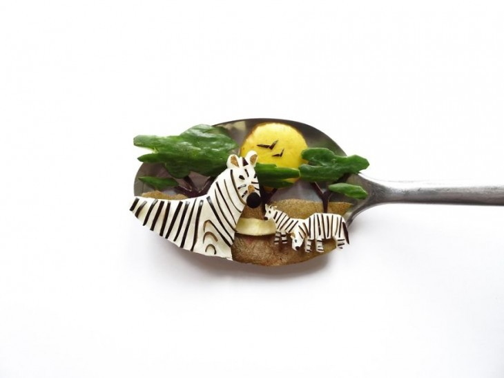 Miniature Masterpieces by Ioana Vanc 09 Miniature Masterpieces Created Using Food And Spoons