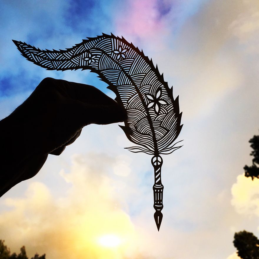 Quill paper cut art by Jo Chorny Gorgeous Paper Cut Outs And Contrasts Them With The Sky Background
