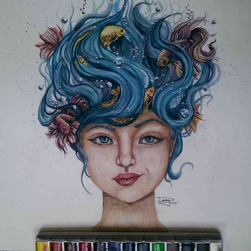 Striking Watercolor Drawings by Dany Lizeth 001 Mind Blowing Watercolor Drawings by Dany Lizeth