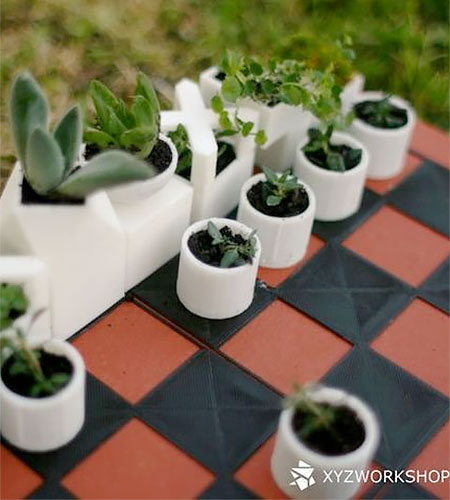 Unique Concept of Chess set Creative Design : Planter Chess Set
