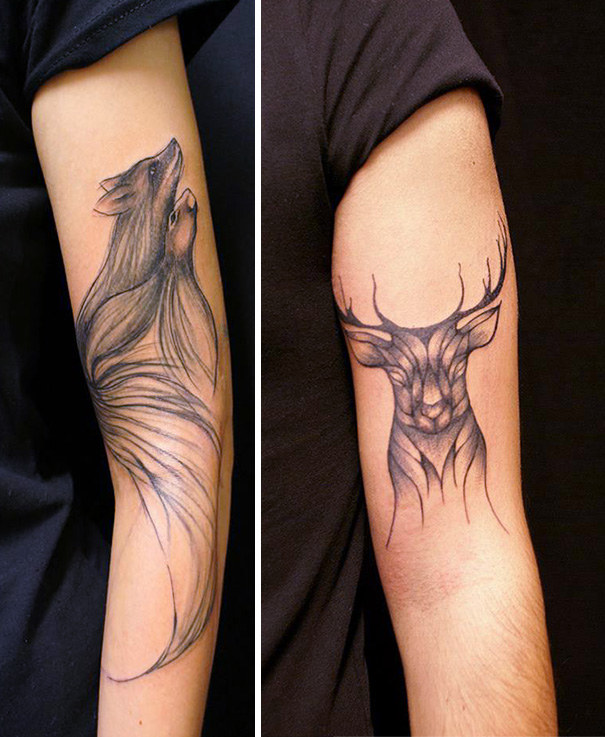 linear animal tattoo 8 Beautiful Tattoos Design That Flowing Naturally In the Body