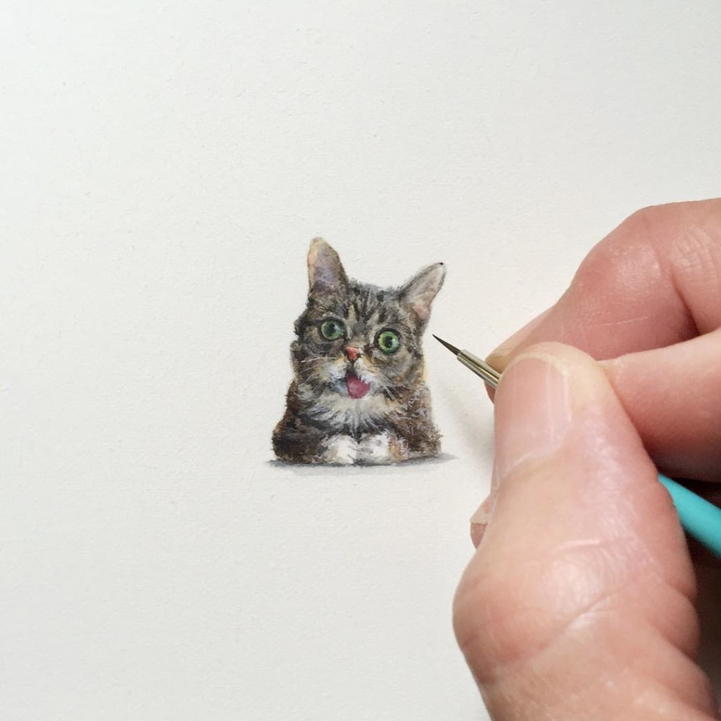 tiny paintings cat by karen libecap 1024x1024 Incredible Tiny Paintings By Karen Libecap
