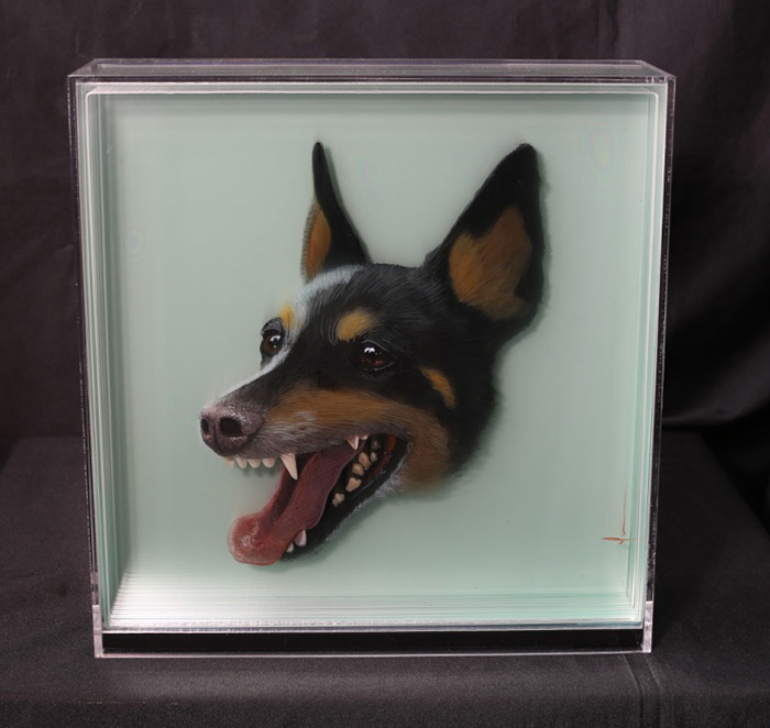 3D Paintings of Animals by Yosman Botero 02 3D Paintings of Animals on Layers of Glass by Yosman Botero