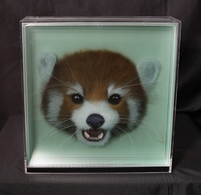 3D Paintings of Animals on Layers of Glass by Yosman Botero