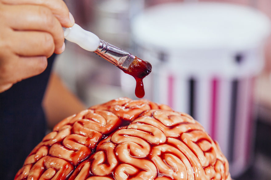 Creative idea of Cake For Halloween Creative Idea : How To Make A Red Velvet Brain Cake For Halloween