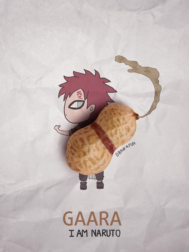 Gaara Character Created From Regular Objects Creative Artwork: Create Naruto Illustrations Using Everyday Objects