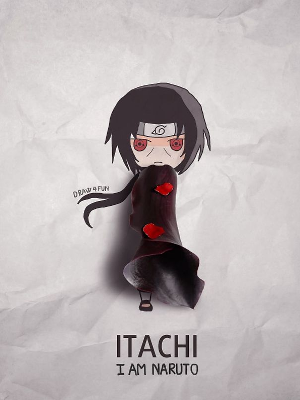 Itachi Character Created From Regular Objects Creative Artwork: Create Naruto Illustrations Using Everyday Objects