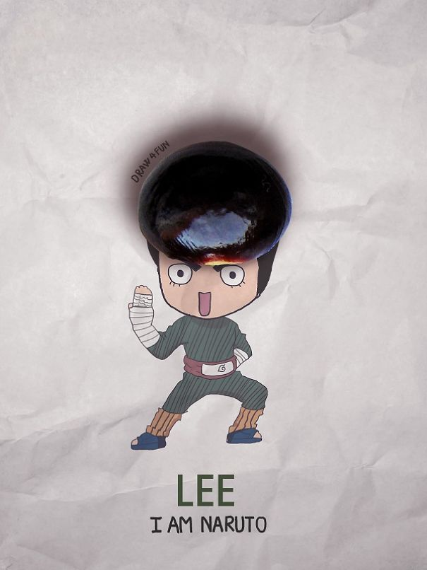 Rock lee Character Created From Regular Objects Creative Artwork: Create Naruto Illustrations Using Everyday Objects