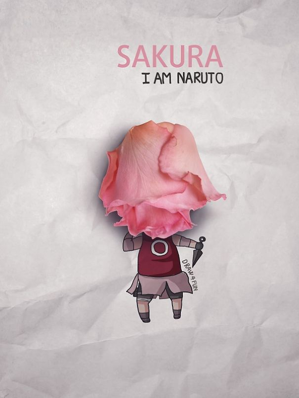 Sakura Character Created From Regular Objects Creative Artwork: Create Naruto Illustrations Using Everyday Objects