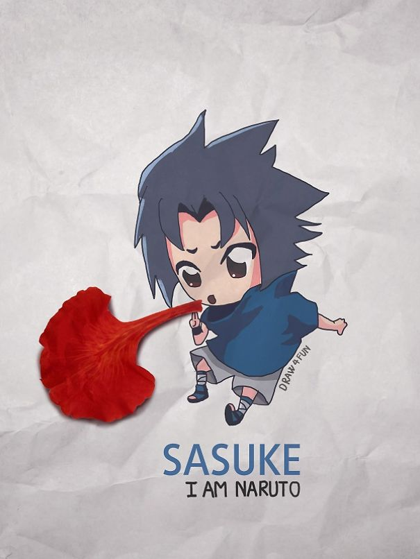 Sasuke Character Created From Regular Objects Creative Artwork: Create Naruto Illustrations Using Everyday Objects