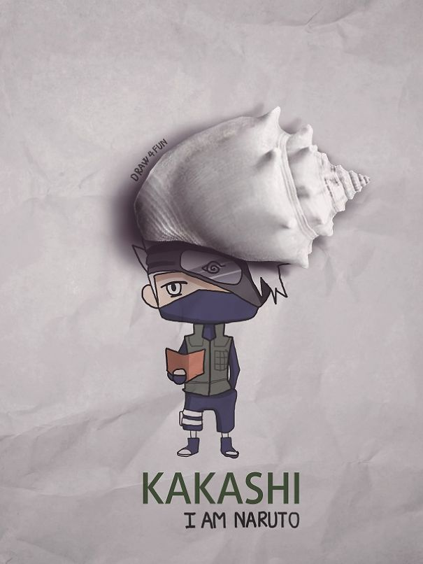 kakashi Character Created From Regular Objects Creative Artwork: Create Naruto Illustrations Using Everyday Objects