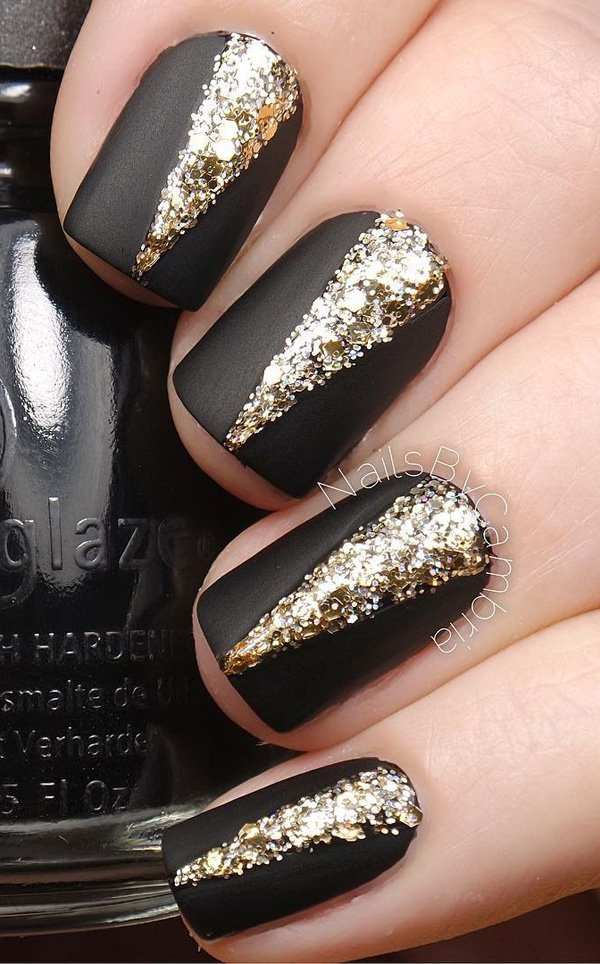 Black and gold glitter nail art 20 Best and Beauty Nail Art Design Ideas