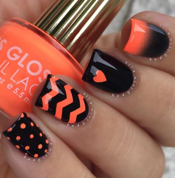 Black and orange nail art idea 20 Best and Beauty Nail Art Design Ideas