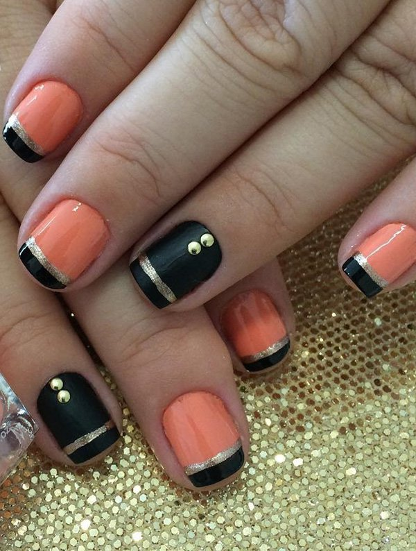Black and pink frech nail 20 Best and Beauty Nail Art Design Ideas