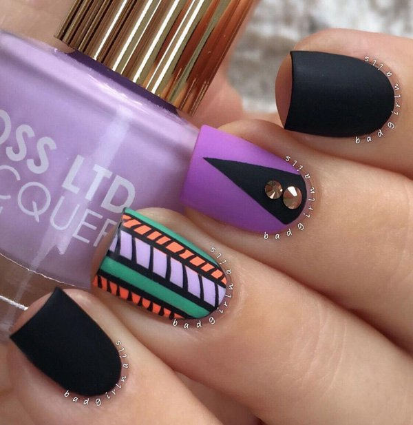 Black and purple with tribe nail art 20 Best and Beauty Nail Art Design Ideas