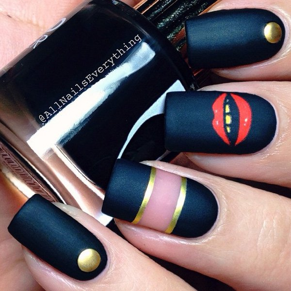 Black nail art 20 Best and Beauty Nail Art Design Ideas